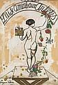 SUZANNE VALADON (1865-1938)  L'aide amicale aux artistes, 1927 Projet pour la célèbre affiche Huile et gouache sur papier marouflé s...