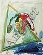 ƒ Menashe Kadishman (Né en 1932) Sheep head, 1989 Huile sur toile Signée en bas à gauche Contresignée et datée au dos 115,5 x 89 cm ...
