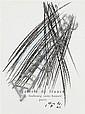 Hans Hartung (1904-1989)  Sans titre, 1962 Crayon gras sur page de garde du catalogue Hans Hartung II, Galerie de France, Paris, 196...