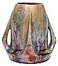 Clément MASSIER (1844-1917) & Lucien LéVY-DHURMER (1865-1953) Vase tronconique galbé en faïence, circa 1900,  ressaut à la base d'où...