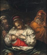 École d'ITALIE du NORD vers 1610 La sainte famille et sainte Anne Toile marouflée sur un contreplaqué 49 x 42,5cm Restaurations anci...