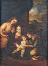 Dans le goût de Luca LONGHI La Vierge à l'Enfant avec sainte Anne et saint Jean Toile 66,5 x 55cm Importantes restaurations ancienne...