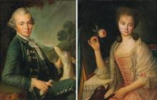 École ROMAINE vers 1760, entourage de martin Ferdinand Quadal Portrait de gentilhomme au chien Portrait de dame à la rose Paire de t...