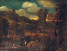 Attribué à Jean-Baptiste HUYSMANS (1654-1716) Paysage animé de personnages en bordure de rivière Toile 74 x 99cm Restaurations ancie...