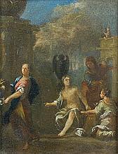 Attribué à Johann Heinrich SCHÖNFELD (1609-1682) Bethsabée au bain Cuivre 11 x 8,5cm Restaurations anciennes