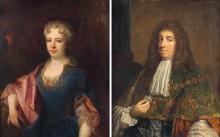 Dans le goût de Pierre MIGNARD Portrait de Madeleine Élisabeth de Chamillart, comtesse de Guitaut en 1719 Portrait de gentilhomme Pa...