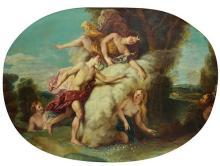 École FRANÇAISE du XIXesiècle, suiveur de Charles de la FOSSE Diane enveloppant d'un nuage la nymphe aréthuse poursuivie par alphée ...