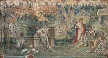 Henri Camille DANGER (Paris 1857-après 1937) Projet de décor pour l'Île Heureuse, dans un cartouche en trompe l'œil Toile 55 x 98,5c...