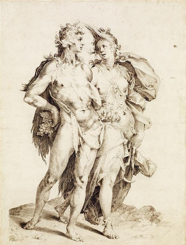 ATTRIBUÉ À JAN MULLER (1571 - 1628) BACCHUS ET ARIANE, D'APRÈS GOLTZIUS Plume et encre brune 45 X 35 CM Doublé, restaurations