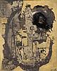 François Arnal (1924-2012) Machine de guerre, 1955 Technique mixte sur toile Signée et datée 55 en bas à droite Titrée, contresignée et datée au dos  65 x 54 cm