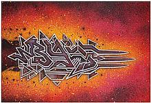 Bill Blast (Né en 1964) Sans titre, 2012 Peinture aérosol sur toile Signée et datée au dos   85 x 124 cm