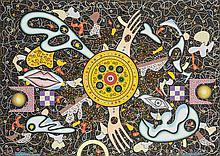 Pascal Chauveau (né en 1962) L'or, 2013 Acrylique, crayon et collages sur papier Titré et daté en bas à gauche, signé et daté en bas à droite   49 x 69 cm