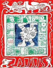 Yvon Taillandier (né en 1926) Soirée Miro, 1994 Gouache et crayon sur papier et set de table imprimé d'Alechinsky  65 x 51 cm
