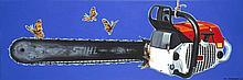 Jean-Claude Bordage (Né en 1944) Tronçonneuse, 2007 Huile sur toile Signée et datée 07 en bas à droite 50 x 150 cm
