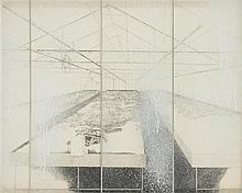 Bernard Moninot (Né en 1949) Serre, 1978 Lithographie et assemblage en verre et bois Numéroté 4/50 en bas à gauche et signé en bas à droite  42 x 52 cm