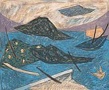 Henri Bernard Goetz (1909-1989) Sans titre Huile et pastel sur toile Signé en bas à droite 54 x 65 cm