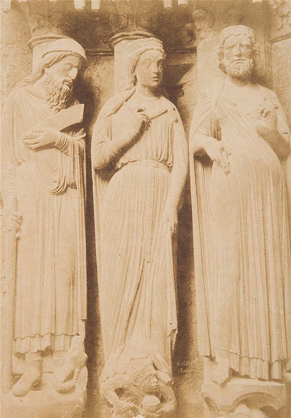 Henri le Secq (1818-1882) Cathédrale de Chartres, ébrasement de gauche: Balaam, la Reine de Saba, Salomon, 1852 Épreuve salée, négat...