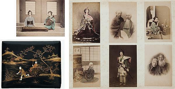 Auteur non identifié Japon, vers 1900 Album de 126 épreuves albuminées, négatif verre, rehaussées à l'aquarelle dans une reliure en ...