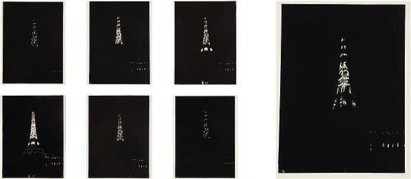 Auteur non identifié L'illumination de la Tour Eiffel, 1925 Ensemble de 7 épreuves argentiques 23,8 x 17,8 cm