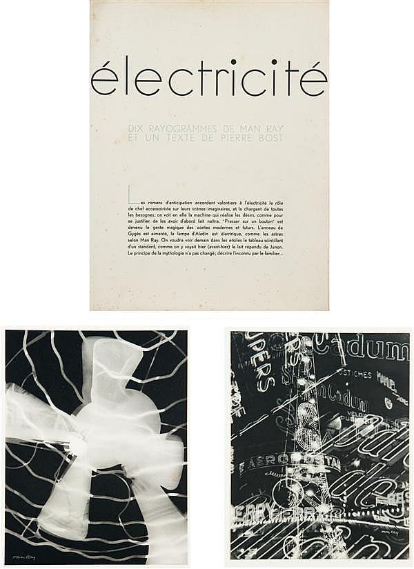 Emmanuel Radnitsky, dit MAN RAY (1890-1976) Électricité, 1931 Portfolio (incomplet) de 8 photogravures de rayogrammes de Man Ray (or...