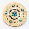 Broche ronde en or jaune réhaussée de cabochons de turquoise et de diamants taillés en rose. Travail français des années 1860 Poids ...