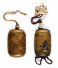 LOT DE DEUX INRÔ À QUATRE CASES en laque or, le premier, à décor, en takamaki-e et nacre, d'un paon sur une pivoine, l'ojime en méta...