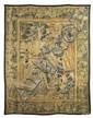TAPISSERIE DES FLANDRES Elle représente la rencontre d'un personnage masculin sur la droite avec une grande dame assistée de deux serva