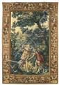 Tapisserie DE BEAUVAIS LA RENCONTRE DE DIANE Laine, soie et fils d'argent avec sa bordure, à fond tabac, décor arabesque de vases de...