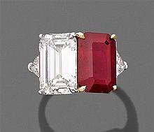 PEDERZANI Importante bague rubis et diamant Elle est ornée d'un rubis rectangulaire à pans coupés et taillé à degrés et un diamant r...