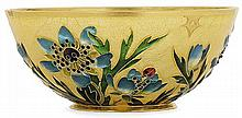 André Fernand THESMAR (1843-1912) A small plique-à-jour enamelled bowl with a rich floral decoration, gold mount. Signed with the artis