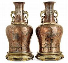 Émile-Auguste REIBER (1826-1893) & Maison CHRISTOFLE A pair of baluster copper and tin ware vases in chinese style, usable as lampe bas