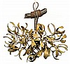 ART NOUVEAU Art Nouveau hanging light shaping mistletoe with three lights. Height. 14 5/8 in. - Diam. 16 1/8 in.