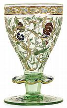 ÉMILE GALLÉ (1846-1904) An enamelled tinted glass stemmed glass, gold highlight. Enamelled signatures and dated. A 1874's model product