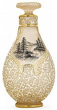 DAUM NANCY A pear shaped acid-etched transparent glass bottle. Signed. Height. 3 3/4 in.