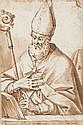 Attribué à Giovanni GUERRA (Modène 1544 - Rome 1618) Saint Ambroise Plume et encre brune, lavis brun sur traits de crayon noir 14,5 ...