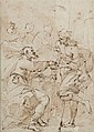 Attribué à Daniele CRESPI (Busto Arsizio 1598 - Milan 1630) Scène de charité Plume et encre brune, lavis brun 20,5 x 14,5 cm Annoté ...