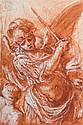 École italienne du XVIIème siècle  L'archange saint Michel Sanguine, lavis de sanguine et rehauts de gouache blanche  14 x 9 cm On j...