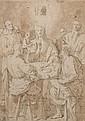Attribué à Pieter de WITTE dit Pietro CANDIDO (vers 1548 - 1628) Les pèlerins d'Emmaüs, d'après Pontormo Crayon noir et lavis brun  ...