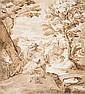 Attribué à Ludwig TOEPUT dit POZZOSERATO (Anvers 1550 - Trévise 1605) Le repos pendant la fuite en Egypte Plume et encre brune sur t...