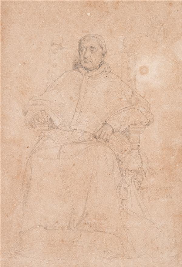 Paul DELAROCHE (Paris 1797 - 1856) Portrait du pape Grégoire XVI Crayon noir 20,5 x 14 cm Signé, situé et daté en bas à droite « Rom...