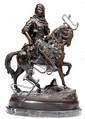 ÉMILE CORIOLAN HIPPOLYTE GUILLEMIN (1841-1907) CAVALIER ARABE Arab Warrior Épreuve en bronze à patine brune inscrite sur la terrasse...
