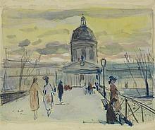 FRANÇOIS GALL (1912-1987) LES PROMENEURS SUR LE PONT DES ARTS VERS L'INSTITUT DE FRANCE, VERS 1949/50 Projet Esquissé sur le motif,...