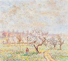Paul Émile Pissarro (1884-1972) Le verger Pastel sur papier Signé en bas à gauche 22,5 x 25,5cm