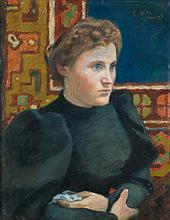Georges-Daniel DE MONFREID (1856-1929) Portrait de femme 1895  Pastel sur papier  Monogrammé