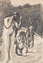 Adolphe Peterelle (1874-1947) Nus féminins Fusain sur papier Signé en bas à droite 27 x 19cm