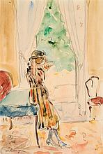Henri Lebasque (1865-1937) Jeune fille dans un intérieur Aquarelle et crayon sur papier Signée en bas à gauche 25 x 17cm
