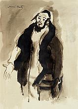 MANE KATZ (1894-1962) Homme religieux Encre et lavis d'encre sur papier Signée en haut à gauche 38 x 27cm