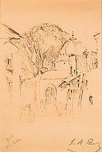 Elie Anatole PAVIL (1873-1948) Village marocain Encre sur papier Porte le cachet de l'artiste en bas à droite 18,5 x 13cm