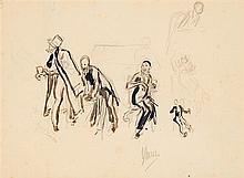 Jules Cheret (1836-1932) Jazzmen Encre et crayon sur papier Signée en bas à droite 22 x 30cm