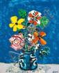 Aizpiri (Né en 1919)  Bouquet de fleurs Huile sur toile Signée en bas à droite 74 x 60 cm - 29 1/8 x 23 5/8 in